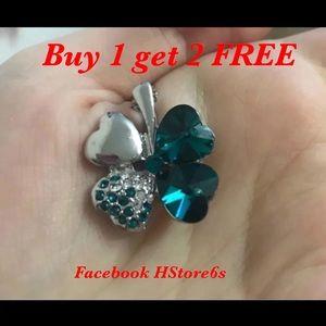 Jewelry - Blue Clover Leaf Necklace Neck5b